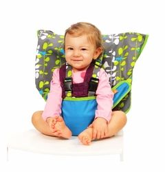 A portable high chair to toss in your bag for a visit with friends or grandparents. Just slip it over a chair back and buckle them in. Also a great space saving option if you don't have room for a high chair.
