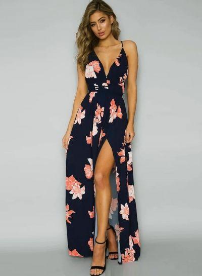 Backless Floral Printed High Slit Maxi Prom Dress - OASAP.com