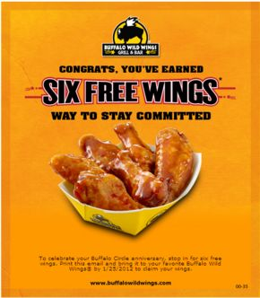 Free $5 Bonus promotional coupon with $30 gift card purchase through June 15. The Bonus coupon is redeemable June 16-July 31, 2014 toward the purchase of food or non-alcoholic beverages at participating Buffalo Wild Wings locations in the U.S. http://www.bestfreestuffguide.com/Free_Buffalo_Wild_Wings_Coupons