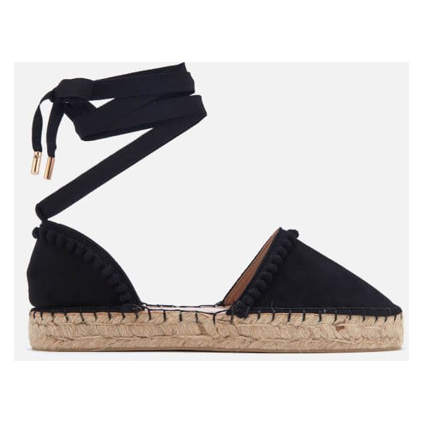Miss KG Women's Dizzy Espadrille Sandals (950 ZAR) ❤ liked on Polyvore featuring shoes, sandals, black, black canvas shoes, flat sandals, black espadrille sandals, espadrille shoes and canvas sandals