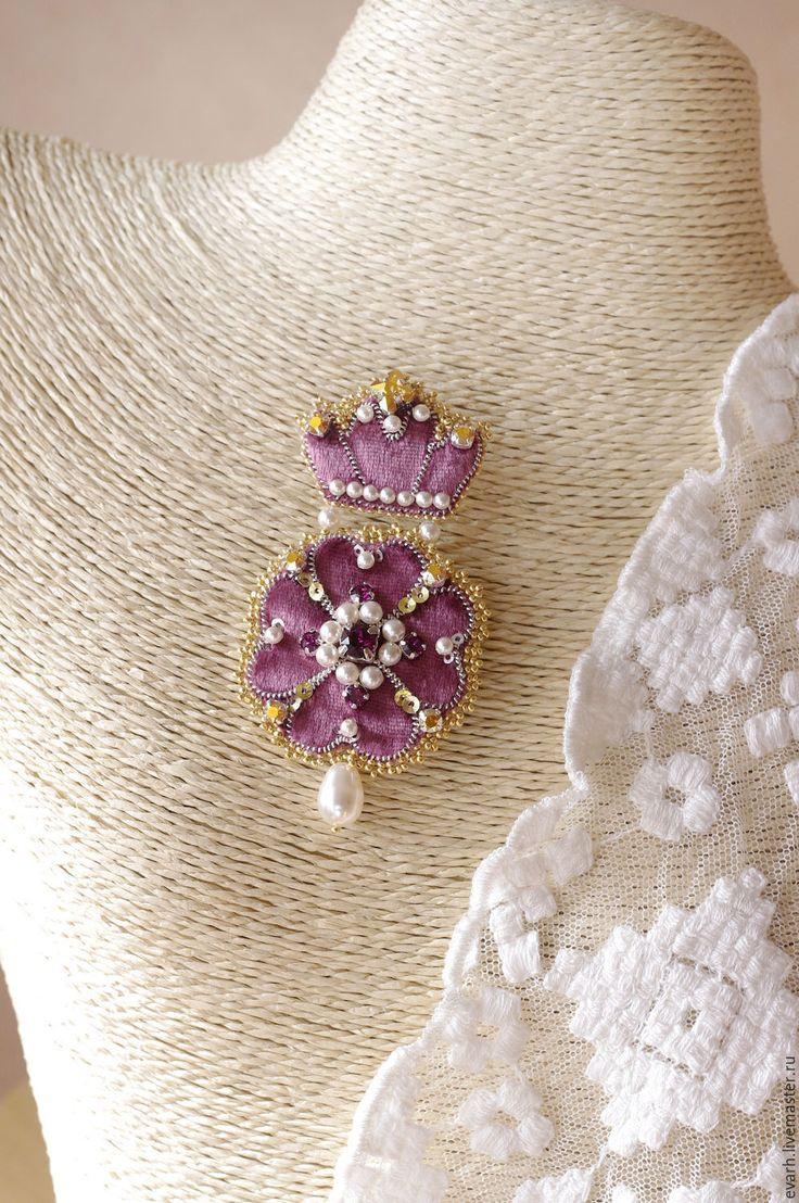 Купить брошь из бисера со сваровски королевский цветок - бледно-розовый, золотой, брошь
