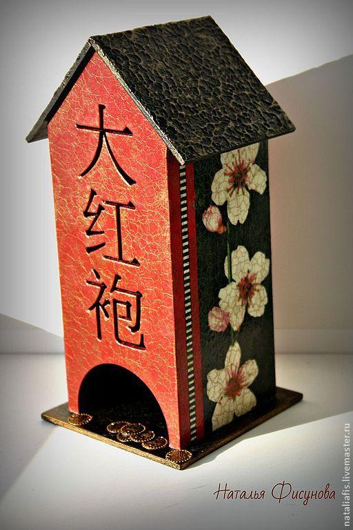 """Купить Чайный домик декупаж """"Японский"""" - чайный домик, для чайных пакетиков, японский стиль"""