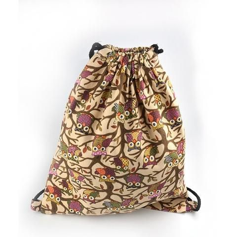 Printed Owl Pattern Drawstring Bag