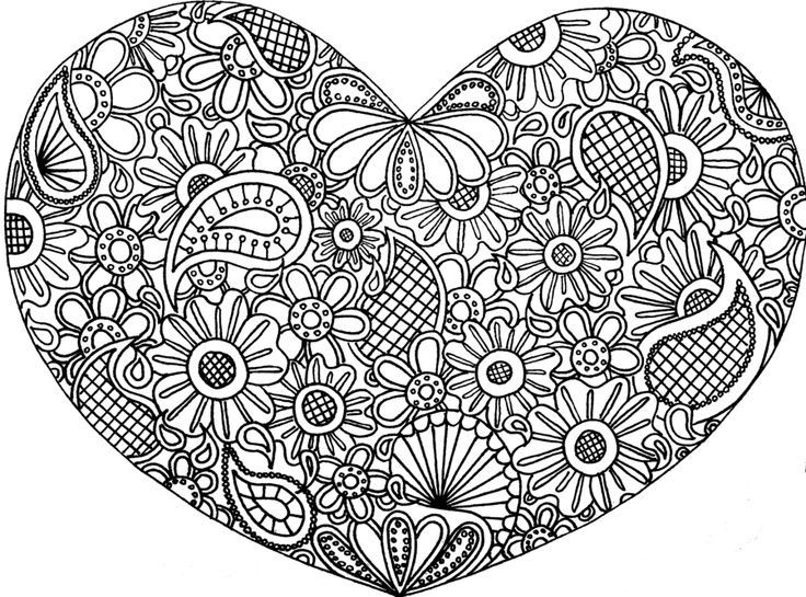 heart mandala coloring pages heart zentangle doodle drawing by coloring pages 0 - Coloring Pages Of A Heart