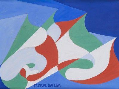 Giacomo Balla - Bandiere in movimento, 1918 - 1919 - Tempera su cartoncino, 22 x 28,5 cm.