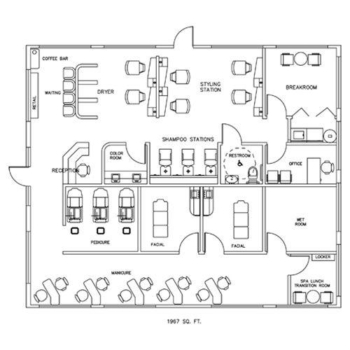 Salon Spa Design Floorplan Layout 1967 Square Feet