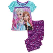 Walmart: Disney Frozen Toddler Girl Anna and Elsa Short Sleeve Pajama Set