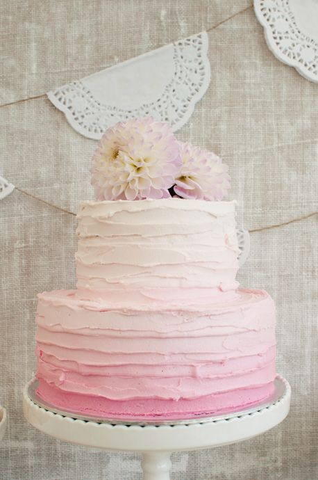 All The Frills Blog | Love the doilies and the cake!  I could totally make this bunting with doilies and wallpaper glue.