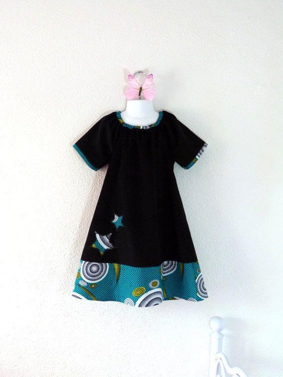 Girl or toddler dress for winter and fall black par LittlePoupettes