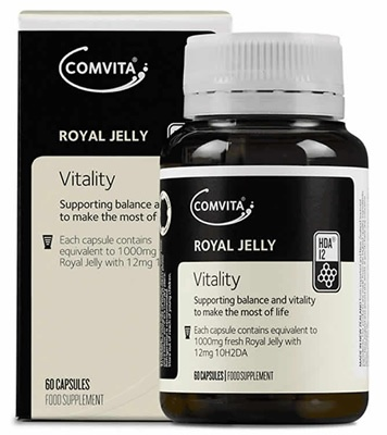 Comvita® Royal Jelly - bringing balance and vitality to make the most of life.    Royal Jelly is the highly nutritious food given to young growing bees and the beehive's most important resident, the Queen Bee.  It contains the naturally occurring substance 10H2DA (10-Hydroxy-2-decenoic acid).