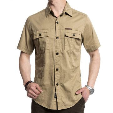 AFSJEEP Outdoor Military Double Pockets Solid Color Casual Short Sleeve Men Cotton Shirt