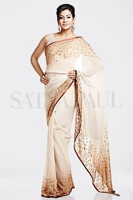 Beige  foil printed ombre saree - 1440