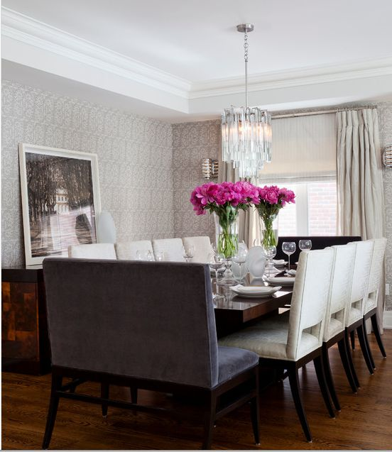 Glamorous Dining Room : Seating Arrangement : Lighting : Window Treatments  : Wall Paper