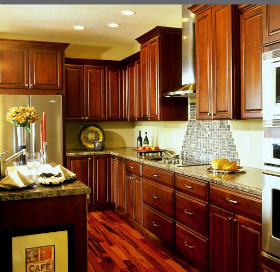 Dynasty Omega Kitchen Cabinets: Dynasty Cherry Lynnville, Sable Finish