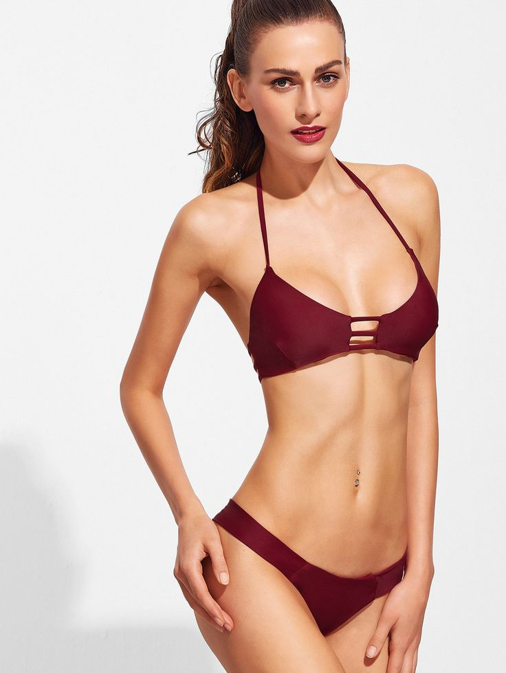 Shop Burgundy Ladder Cutout Halter Bikini Set online. SheIn offers Burgundy Ladder Cutout Halter Bikini Set & more to fit your fashionable needs.