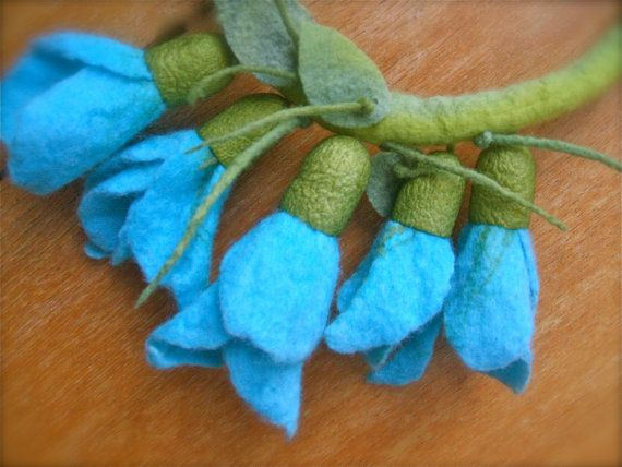Romantic handmade flowers necklace felt necklace by jurooma, $38.00