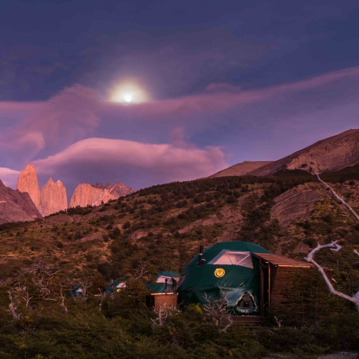 Sunrise, Full Moon, EcoCamp. The perfect Equation for a dream #Landscape! #Patagonia #Chile