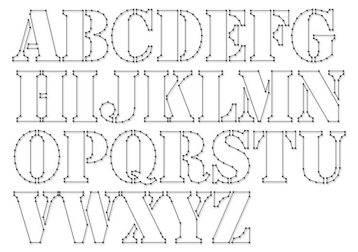 String-art pattern sheets ALPHABET STENCIL (letter height 10cm) - www.spijkerpatroon.nl