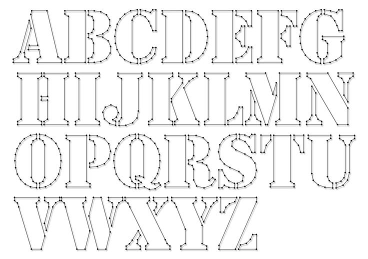 String-art pattern sheets ALPHABET STENCIL (letter height 10cm) - www.spijkerpatroon.nl