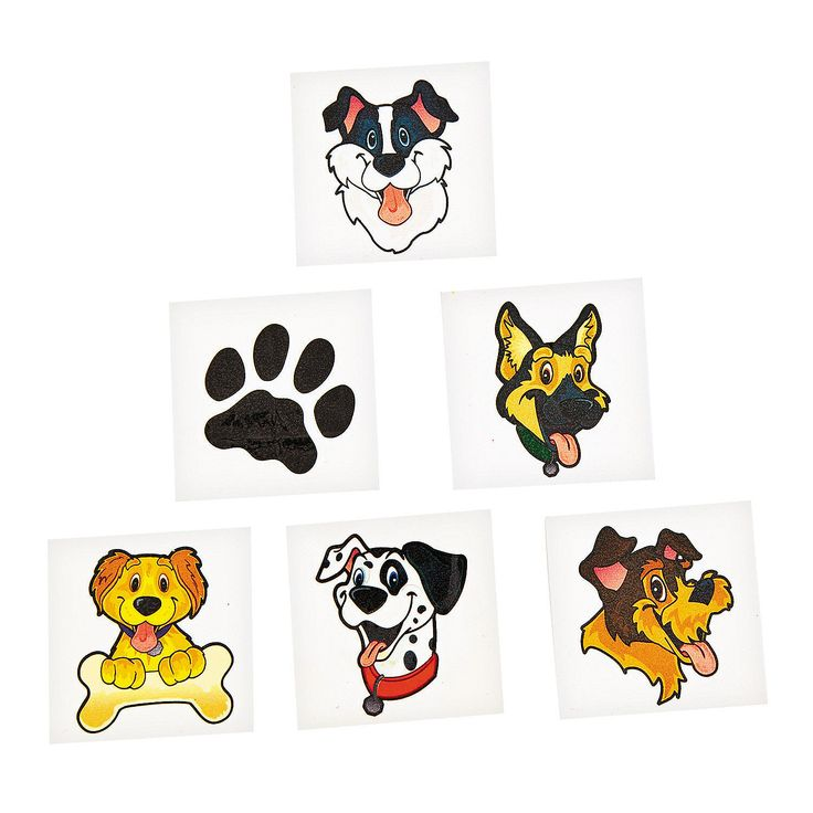 PUPPY PARTY ~ Dog and Puppy Tattoos - Temporary Tattoo - pack of 36 | eBay