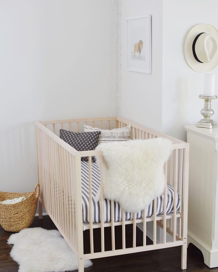nursery nook Sharon montrose maewoven IKEA crib sheepskin
