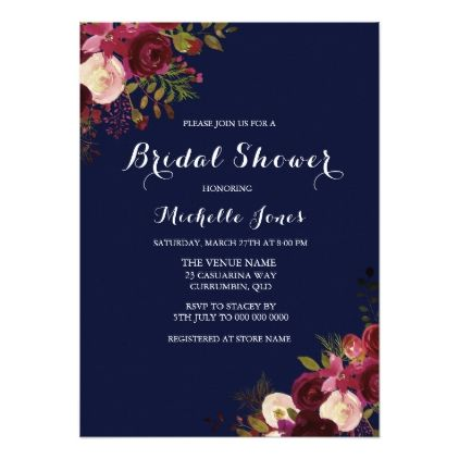 Navy & Red Floral Spring Autumn Bridal Shower Card - autumn wedding diy marriage customize personalize couple idea individuel