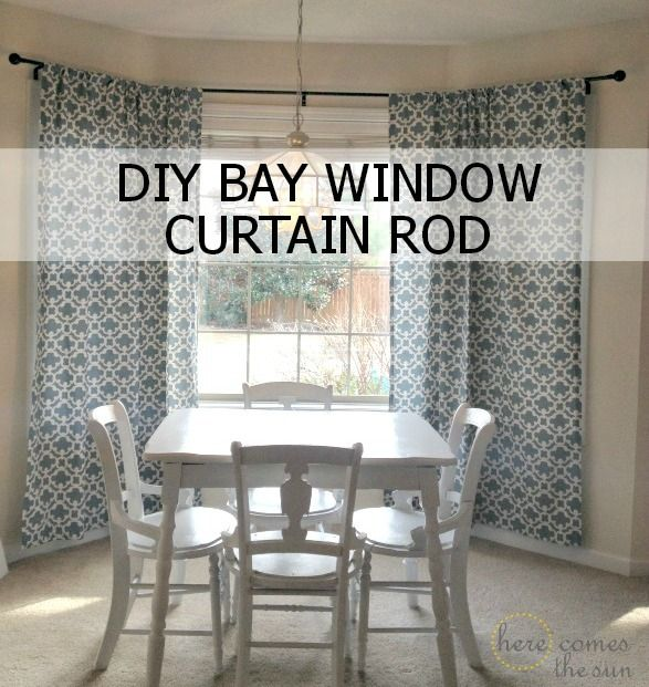 Decorate a Rental with bold curtains and a DIY bay window curtain rod