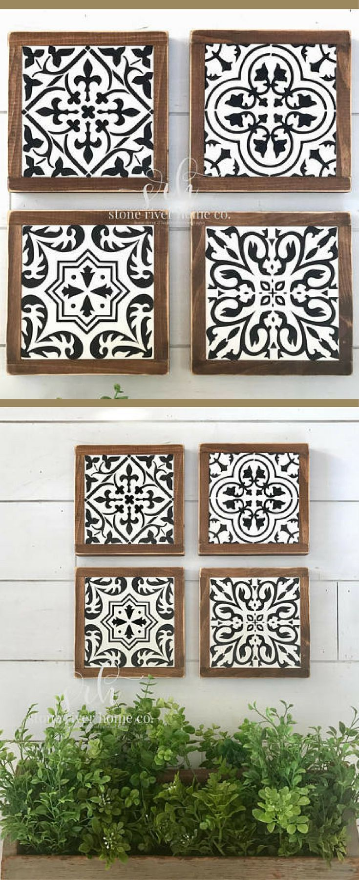 These would looks so good in a bathroom, dining room, gallery wall... well anywhere! Set of 4 Spanish tiles mini wood signs | wall decor | farmhouse decor | rustic kitchen decor | fixer upper | Gallery wall decor | farmhouse sign | Farmhouse tile signs #ad