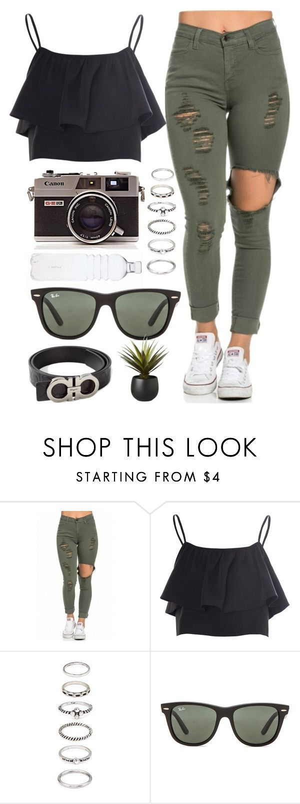 """""""The amusement park with Shawn Mendes"""" by katerinabocharova ❤ liked on Polyvore featuring Glamorous, Forever 21, Ray-Ban, Salvatore Ferragamo and CB2"""