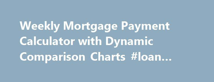 Weekly Mortgage Payment Calculator with Dynamic Comparison Charts #loan #rates http://mortgage.remmont.com/weekly-mortgage-payment-calculator-with-dynamic-comparison-charts-loan-rates/  #bank rate.com mortgage calculator # Weekly Mortgage Payment Calculator toCompare Mortgage Interest Savings [ Skip to Calculator ] Shows you the time and interest savings that could occur if you switched from making monthly mortgage payments to weekly or biweekly payments. This free online Weekly Mortgage…