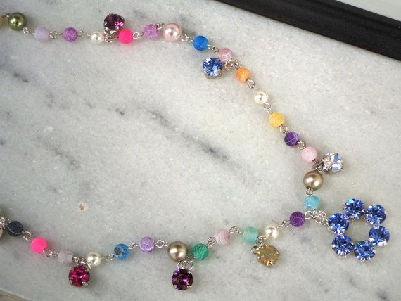 Austrian crystal and agate matte multicolour by CrystallizedByLena, $52.00