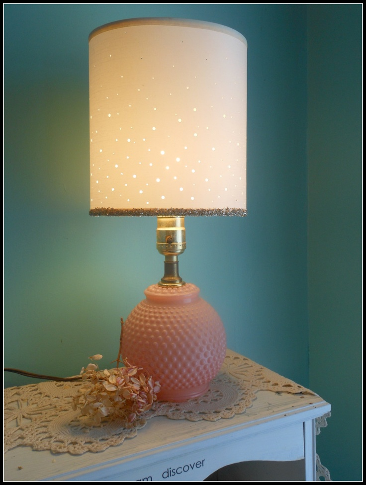 Shabby Chic Vintage PINK Hobnail Lamp with Retro Lampshade German Glass Glitter French Boudoir Babys Room Nursery Decor. $30.00, via Etsy.