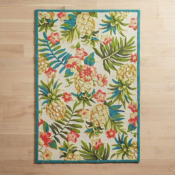 "Pier 1 Imports Tossed Pineapples 5x7'6"" Rug (415 CAD) ❤ liked on Polyvore featuring home, rugs, fruit rugs, pier 1 imports, fruit area rugs, tropical rugs and pineapple rug"