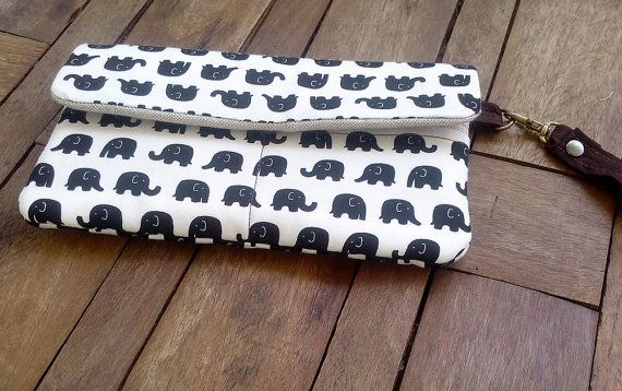 Black Elephant Wallets Fabric Cases Fabric Wallets by WitchyThai.