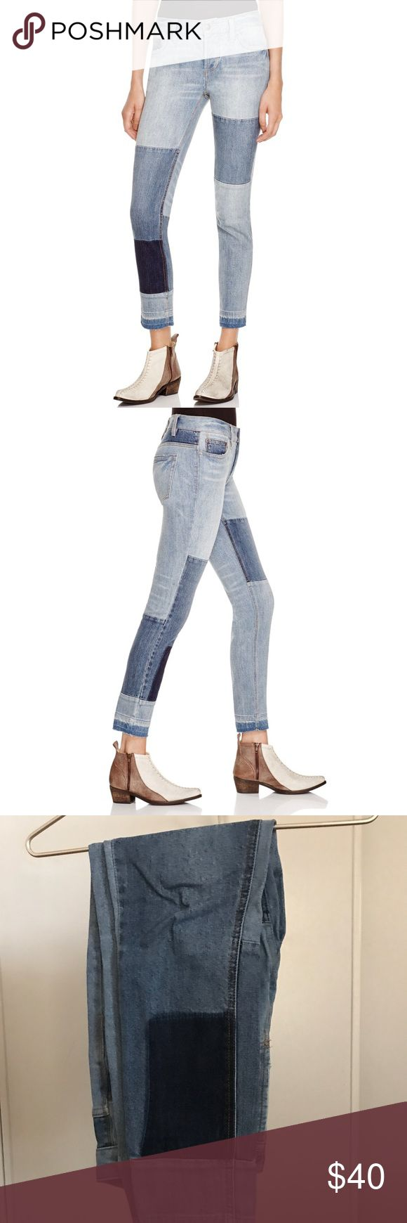 Free People Patchwork Jean - Size 27 Cute cutoff jeans with patch detailing from Free People! No longer sold online. Great condition and a stretchy, comfortable material!  They're a size 27 and fit true to size!   *no trades or lowball offers please* Free People Jeans