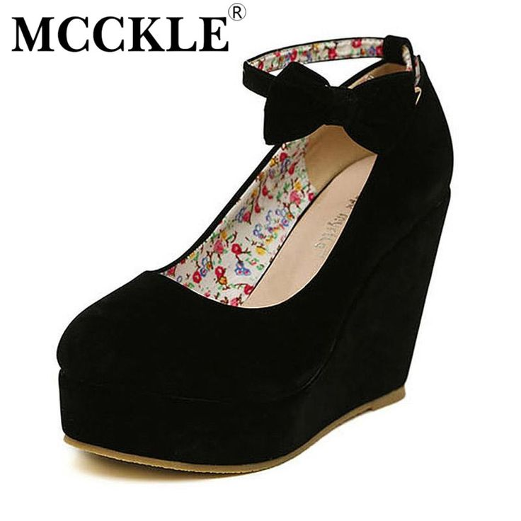 Watch this product and see why millions are pouring in MCCKLE  Women Fas... a great product you can count on here http://www.costbuys.com/products/mcckle-women-fashion-buckle-ladies-shoes-wedges-high-heels-platform-black-casual-bowtie-pumps-tenis-feminino-sapato-feminino?utm_campaign=social_autopilot&utm_source=pin&utm_medium=pin
