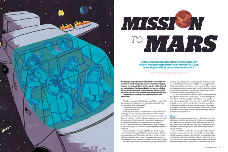 University of Connecticut Magazine -- How a UCONN Professor is working with the Mission to Mars team to help determine the best candidates to go on the trip