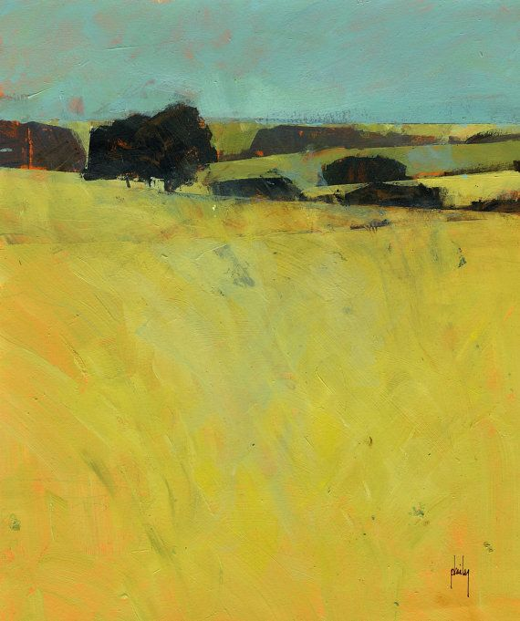 Semi-abstract landscape original painting  Summer by PaulBaileyArt