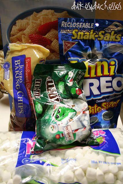 Xmas Trail Mix= 6c. Rice Chex, 1.5c. mini marshmallows, 1.5c. mini oreos, 1c. jumbo chocolate chips, 1c. mint m's