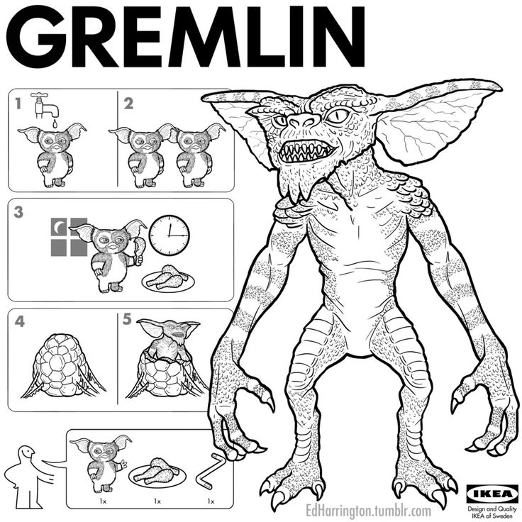 Gremlin IKEA instructions by Ed Harrington Horror