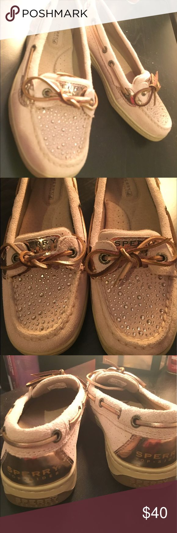 Sperry Angelfish suede/rhinestone; 6M NEVER WORN Angelfish light Pink-tan-suede/ rhinestone. Never worn! Size 6. Super cute! Super chic! Sperry Top-Sider Shoes Flats & Loafers