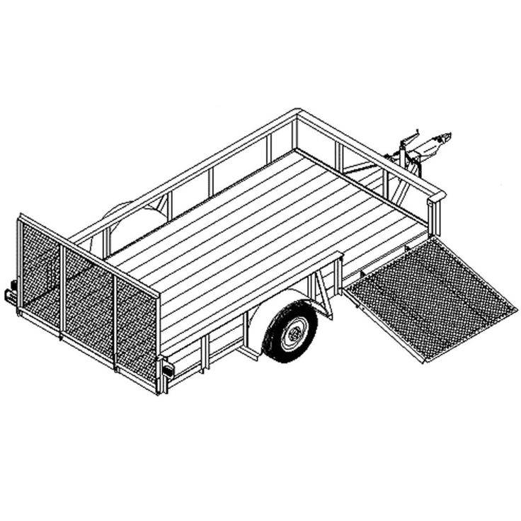 """6' 6"""" x 12' Utility-ATV-Landscape Trailer Plans – Model 1112  16 Easy Step by Step Instructions Full Sized Engineered Approved Blueprints (24″x36″)  Suitable for High School Shop Classes, Industry, and Do-It-Yourselfers.  Specifications:     - Box Size: 6'6″ x 12′         - Gross Capacity: 3500 lbs or 5200 lbs     - Empty Weight: 1525 lbs     - Empty Tongue Weight: 175 lbs     - Frame: Angle Steel     - Deck: Wood"""