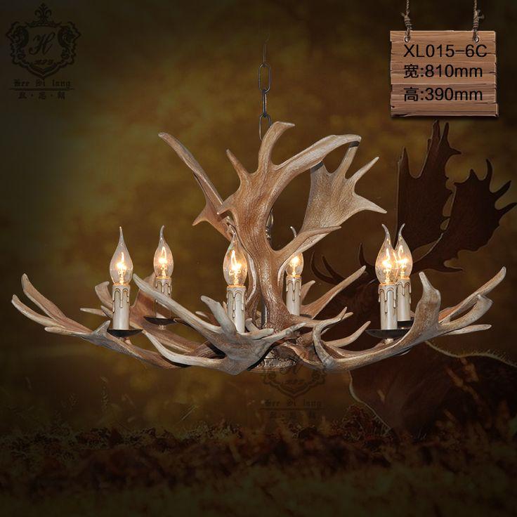 Бар в стиле гостиной люстра рога рога Американский кантри творческий освещение бар ретро личность
