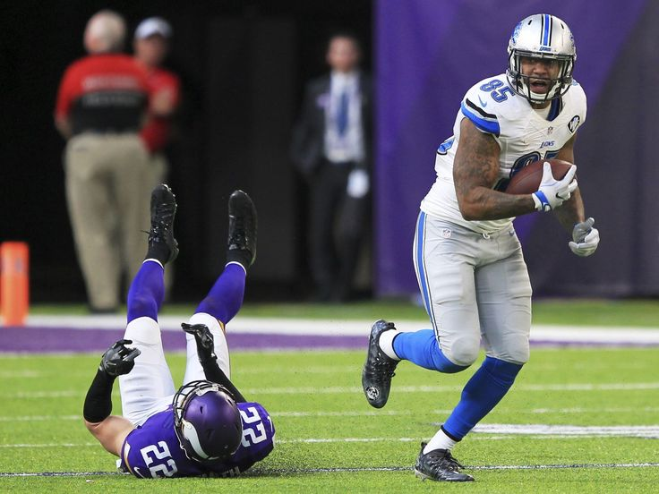 Lions vs. Vikings:  22-16, Lions  -  November 6, 2016  -     Detroit Lions tight end Eric Ebron, right, runs from Minnesota Vikings free safety Harrison Smith (22) after making a reception during overtime in an NFL football game Sunday, Nov. 6, 2016, in Minneapolis.  Andy Clayton-King, Associated Press