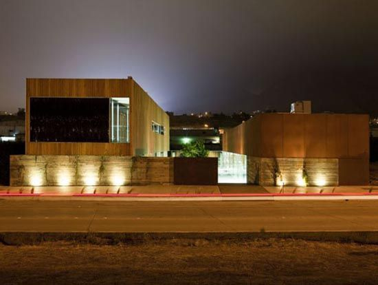 The Mexican Culinary Art School in Tijuana, Mexico by Gracia Studio is arranged in two volumes. The grand plaza creates a transition space between the two main volumes which face each other. The First building is the greater volume containing the administrative offices, classrooms, library, and the wine cellar. Whereas the second volume contains the cooking stations; with absolute transparency between them and the plaza. This allows spectators to watch the food preparations.Gracias Studios, Art Colleges, House Design, Art Schools, Culinary Arts, Culinary Schools, Fine Architecture, Tijuana Mexico, Architecture Exterior