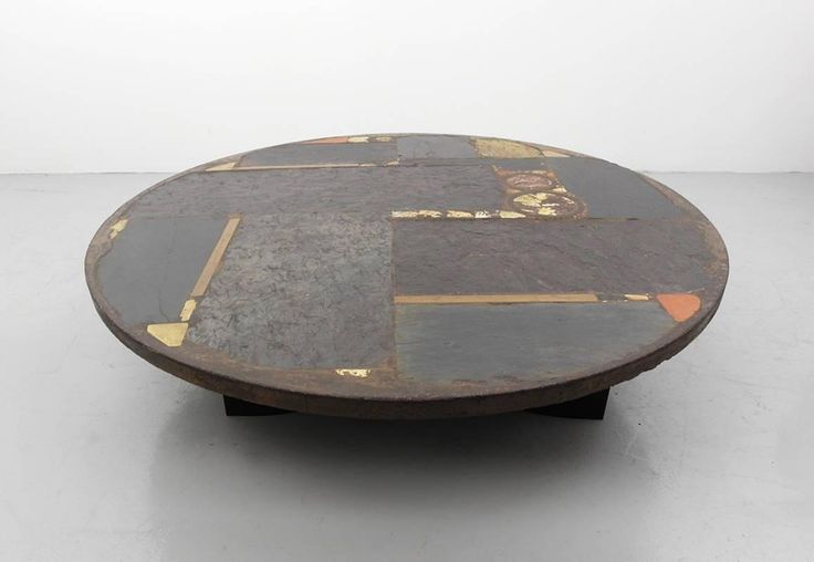 Paul Kingma Ceramic Art Slate Coffee Table with Metal Foot, 1973 | From a unique collection of antique and modern sofa tables at https://www.1stdibs.com/furniture/tables/sofa-tables/
