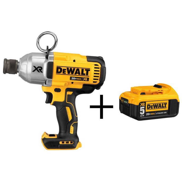 DEWALT 20-Volt MAX Cordless Brushless 7/16 in. Impact Wrench with Quick Release Chuck (Tool Only) with 5Ah Battery Pack