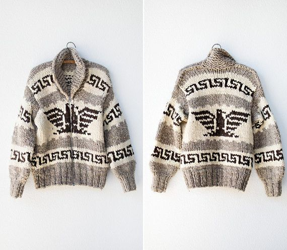 WOULD LOVE A VINTAGE COWICHAN SWEATER!! I like the ones with a hawk on them for an animal :) COULD BE A LARGER SIZE THAN A SMALL SO ITS A BIT OVERSIZED AND SLOUCHY!!! vintage 1940s or 1950s cowichan sweater // vintage tribal sweater // vintage cowichan cardigan