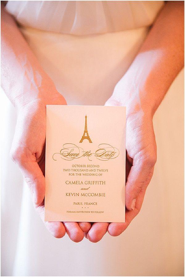 Paris save the date  | Image by Le Secret d'Audrey, read more http://www.frenchweddingstyle.com/romantic-small-wedding-paris/