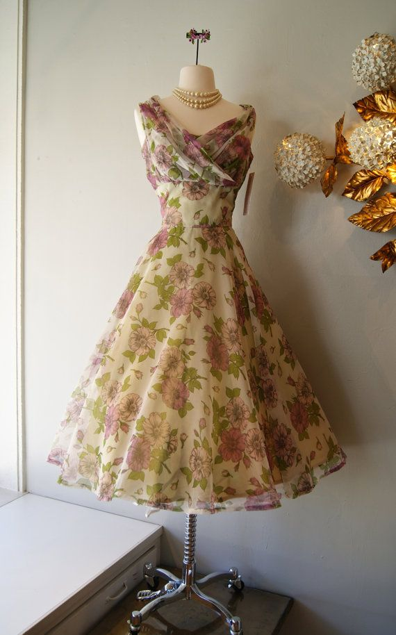 50s Dress // Vintage 1950s Floral Party Dress by xtabayvintage, $248.00